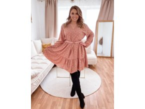 Volné šaty s výstřihem do V a zlatým vzorem - růžová (Veľkosť XL/XXL)