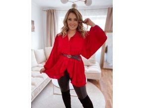 Košile se širokými rukávy v červené (Veľkosť L/XL)