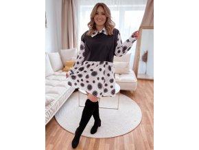 Volné černobílé šaty s koženkovým detailem (Veľkosť XL/XXL)