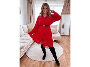 Prošívané šaty s krajkou - červená (Veľkosť XL/XXL)