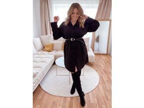 Košilové šaty v černé barvě (Veľkosť XL/XXL)