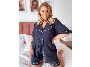 Dámské kraťasové pyžamo v tmavě modré (Veľkosť XL/XXL)