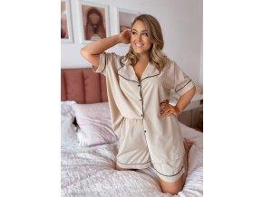 Dámské kraťasové pyžamo v béžové (Veľkosť XL/XXL)