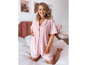 Dámské kraťasové pyžamo v světle růžové (Veľkosť XL/XXL)
