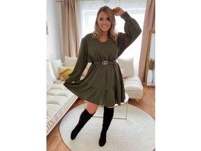 Krátké khaki zelené šaty s páskem (Veľkosť L/XL)