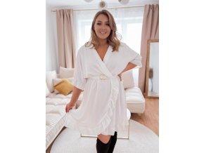Bílé šaty s volánem a páskem (Veľkosť XL/XXL)