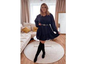 Krátké tmavě modré šaty s páskem (Veľkosť L/XL)