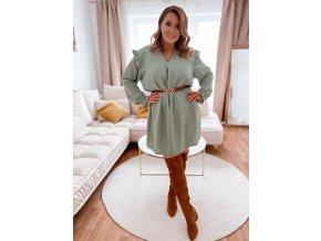 Světle zelené šaty s dlouhým rukávem a volánem (Veľkosť L/XL)