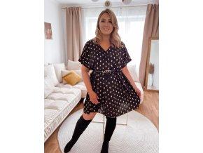 Volné černé šaty s krátkým rukávem a zlatým vzorem (Veľkosť XL/XXL)