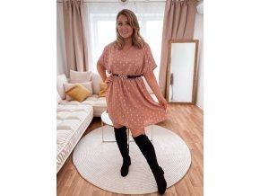 Volné staro růžové šaty s krátkým rukávem a zlatým vzorem (Veľkosť XL/XXL)