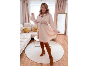 Béžové šaty s páskem (Veľkosť L/XL)