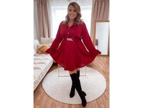 Vínové šaty s páskem (Veľkosť L/XL)