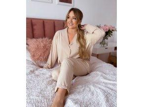 Dámské dlouhé pyžamo v béžové (Veľkosť L/XL)