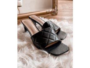 Černé pantofle na podpatku (Veľkosť 41)