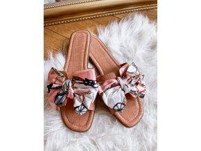 Růžovo-hnědé pantofle s mašlí (Veľkosť 41)