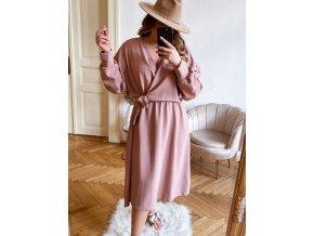 Staro růžové šaty se zavinovacím efektem (Veľkosť XL/XXL)