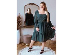 Volné zelené šaty v midi délce s dlouhým rukávem