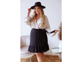 Černá sukně se zavinovacím efektem (Veľkosť L/XL)