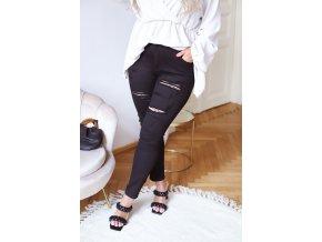 Černé roztrhané džíny (Veľkosť XXXXL)