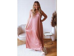 Růžové šaty na ramínka se saténovým efektem (Veľkosť L/XL)