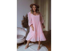 Volné broskvové šaty v midi délce s dlouhým rukávem (Veľkosť XL/XXL)
