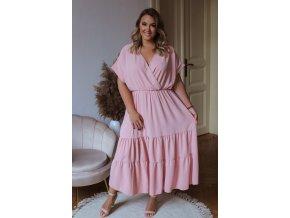Dlouhé volné šaty s krátkým rukávem v světle růžové (Veľkosť XL/XXL)