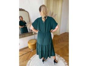 Dlouhé volné šaty s krátkým rukávem v amazonské zelené (Veľkosť XL/XXL)