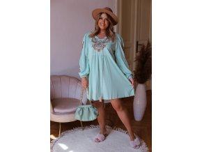 Krátké šaty s vyšívaným vzorem - světle zelená (Veľkosť XL/XXL)
