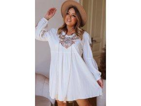Krátké šaty s vyšívaným vzorem - bílá (Veľkosť XL/XXL)
