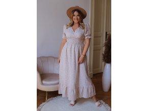Dlouhé vzorované šaty s krátkým rukávem - béžová (Veľkosť XL/XXL)