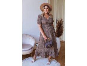 Dlouhé vzorované šaty s krátkým rukávem - hnědá (Veľkosť XL/XXL)