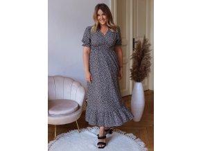Dlouhé vzorované šaty s krátkým rukávem - černá (Veľkosť XL/XXL)
