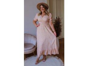Dlouhé vzorované šaty s krátkým rukávem - oranžová (Veľkosť XL/XXL)