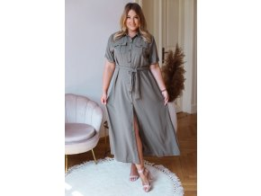 Dlouhé košilové šaty s krátkým rukávem - šedě zelená (Veľkosť M/L)