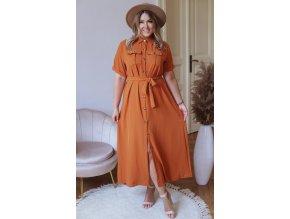 Dlouhé košilové šaty s krátkým rukávem - hořčicová (Veľkosť M/L)