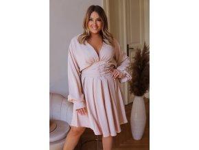 Krátké šaty s dlouhým rukávem a hlubokým výstřihem v krémové barvě (Veľkosť XXXXL)