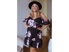 Krátké květinové šaty s odhalenými rameny - černá (Veľkosť L/XL)