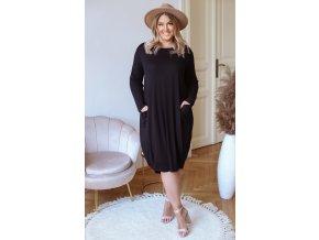 Tričkové šaty s kapsami - černá (Veľkosť XL/XXL)