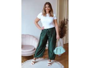 Široké plisované kalhoty s odleskem - tmavě zelená (Veľkosť L/XL)