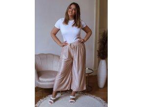 Široké plisované kalhoty s odleskem - béžová (Veľkosť L/XL)