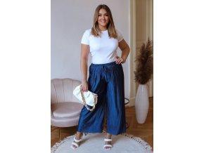 Široké plisované kalhoty s odleskem - tmavě modrá (Veľkosť L/XL)