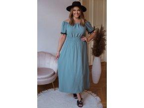 Dlouhé šaty s barevnými třásněmi - modro zelená (Veľkosť XL/XXL)