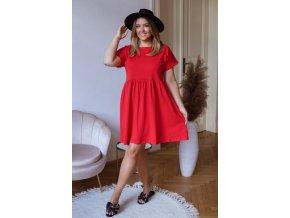 Bavlněné krátké šaty s krátkým rukávem - červená (Veľkosť XXXXL)