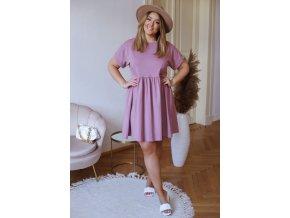 Bavlněné krátké šaty s krátkým rukávem - fialovo růžová (Veľkosť XXXXL)