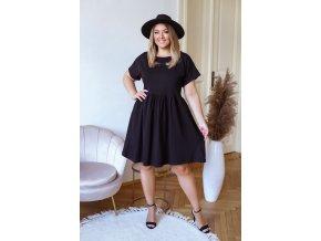 Bavlněné krátké šaty s krátkým rukávem - černá (Veľkosť XXXXL)