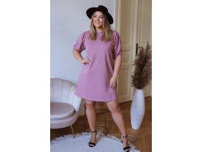Krátké bavlněné šaty s puffovými rukávy - fialová (Veľkosť XXXL)