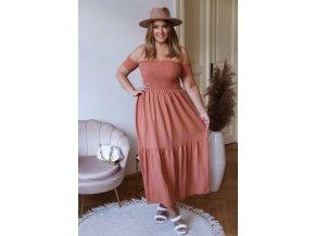 Dlouhé bavlněné šaty s odhalenými rameny (Veľkosť XXL)