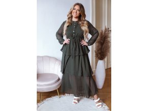 Puntíkované dlouhé šaty s volánovou sukní - tmavě zelená (Veľkosť M/L)