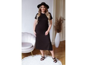 Midi tričkové šaty s krátký rukávem - černá (Veľkosť XXXXL)