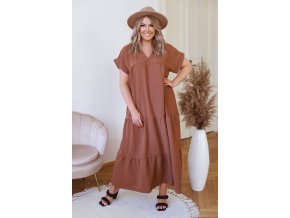 Dlouhé hnědé šaty s krátkým rukávem (Veľkosť XL/XXL)